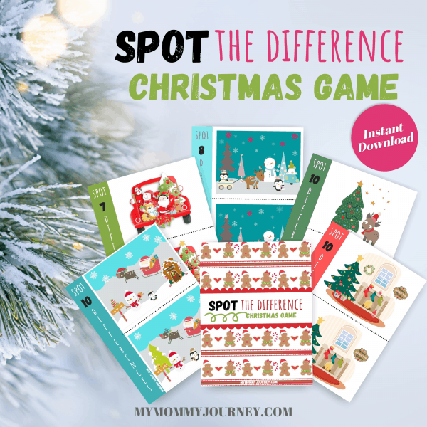 Spot the Difference Christmas Game printable