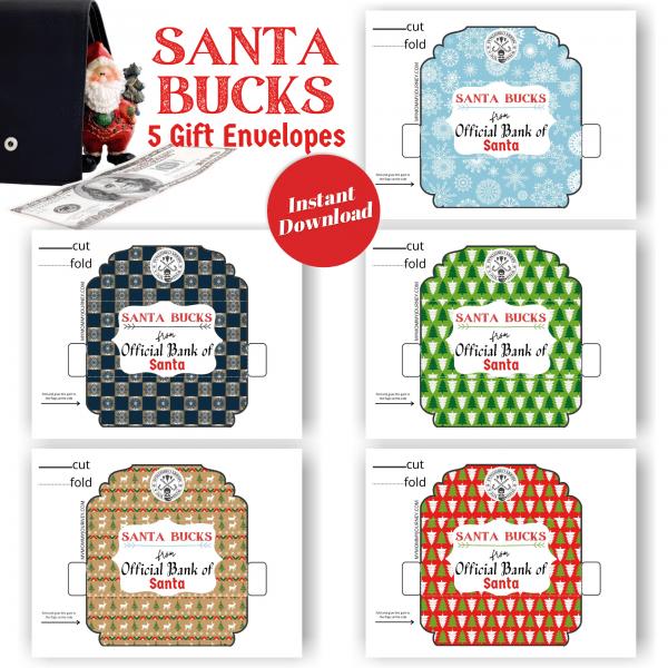 Santa Bucks Gift Envelopes printable