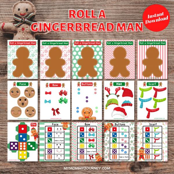 Roll A Gingerbread Man Christmas Game printable