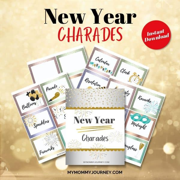 New Year Charades printable cards