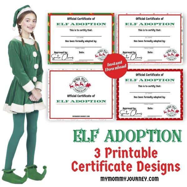 3 Printable Elf Adoption Official Certificate Designs