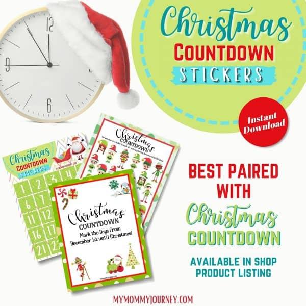 Christmas Countdown Stickers printable