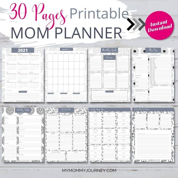 The Busy Mom Planner 2021 gray 30 pages