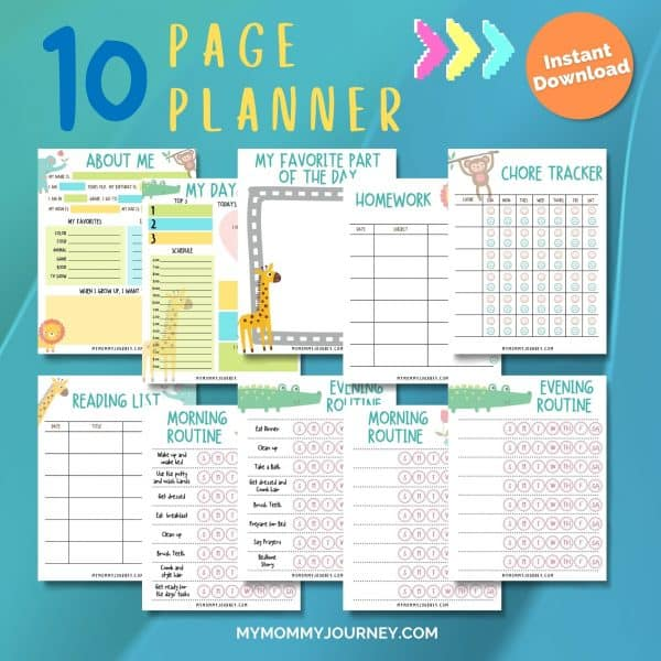 Kids Daily Planner 10 pages
