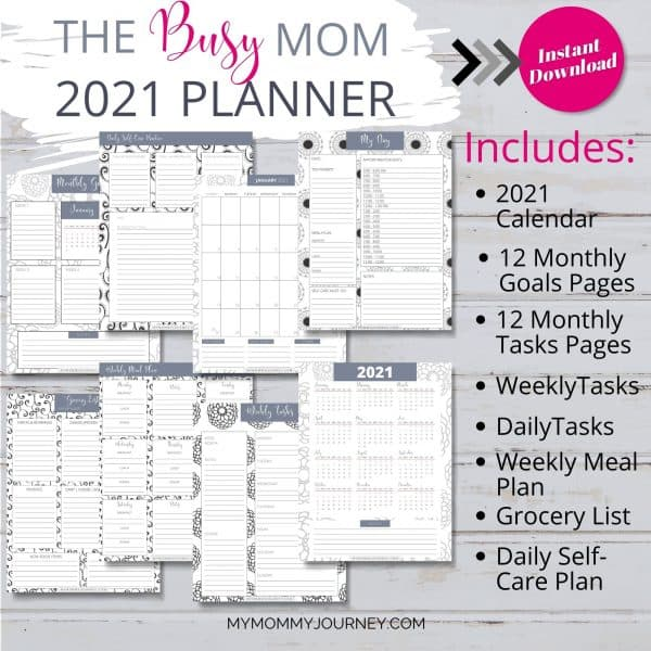 The Busy Mom Planner 2021 gray includes