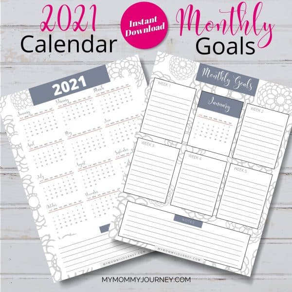 The Busy Mom Planner 2021 gray calendar and monthly goals