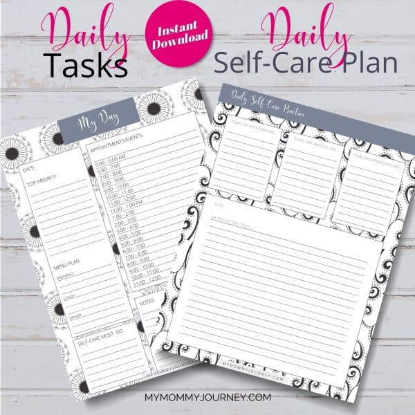 The Busy Mom Planner 2021 gray daily tasks and self-care plan