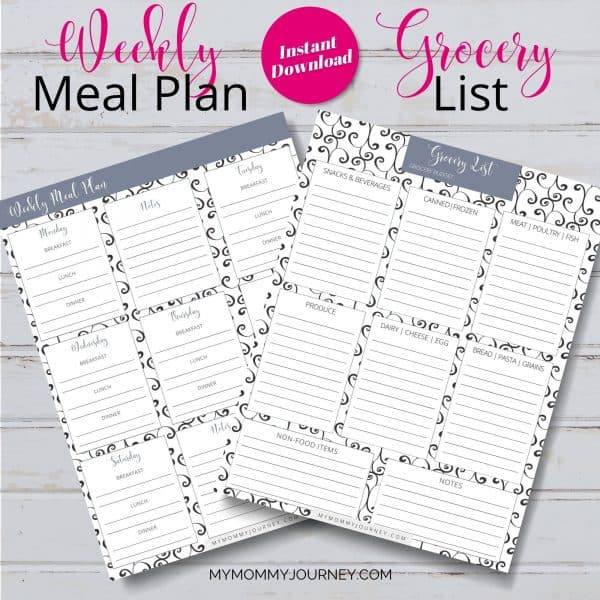 The Busy Mom Planner 2021 gray weekly meal plan and grocery list