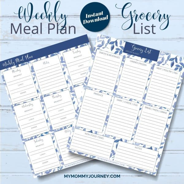 The Busy Mom Planner 2021 blue weekly meal plan and grocery list
