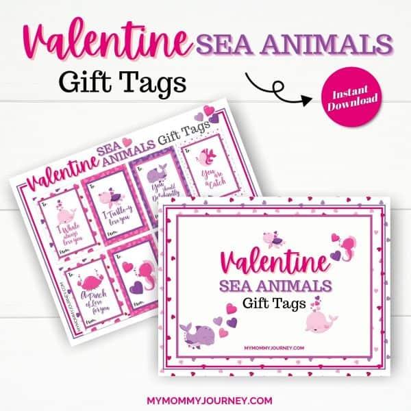 Valentine Gift Tags Printable Sea Animals