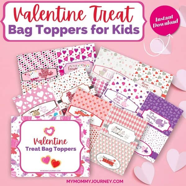 Valentine Treat Bag Toppers Printable Animals