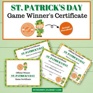 St. Patrick's Day Game Certificate
