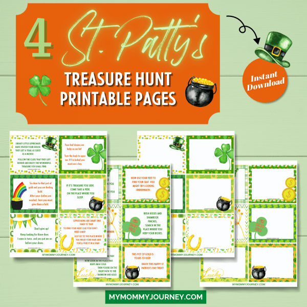4 St. Patrick's Treasure Hunt printable pages