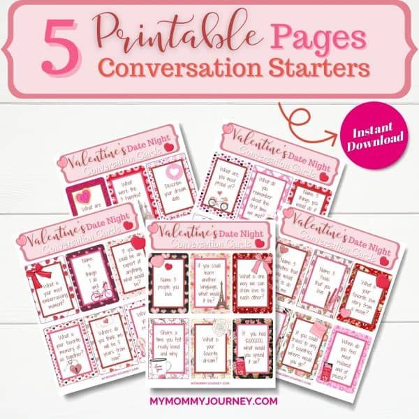 Valentine's Day Conversation Starters 5 printable pages