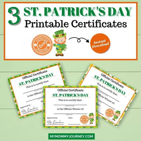 3 St. Patrick's Day Printable Certificate