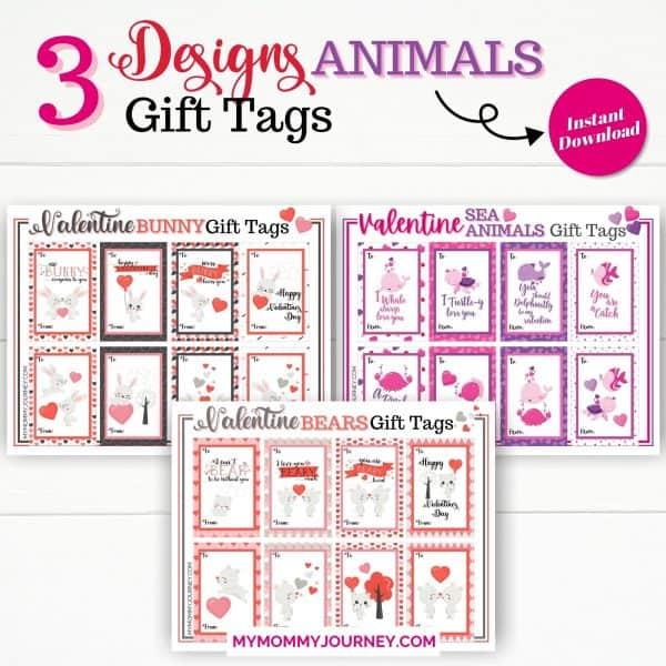 3 Designs Valentine Gift Tags Printable Animals