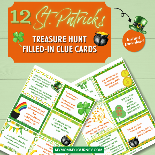 12 St. Patrick's Treasure Hunt filled-in clue cards