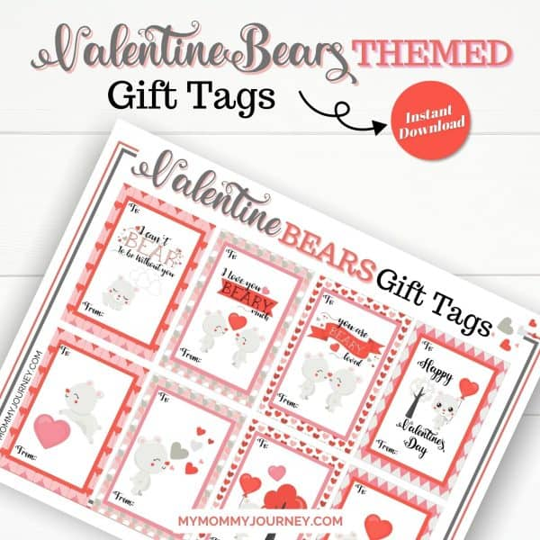 Valentine Bear Themed Gift Tags