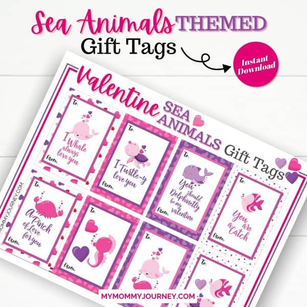 Valentine Sea Animals Themed Gift Tags