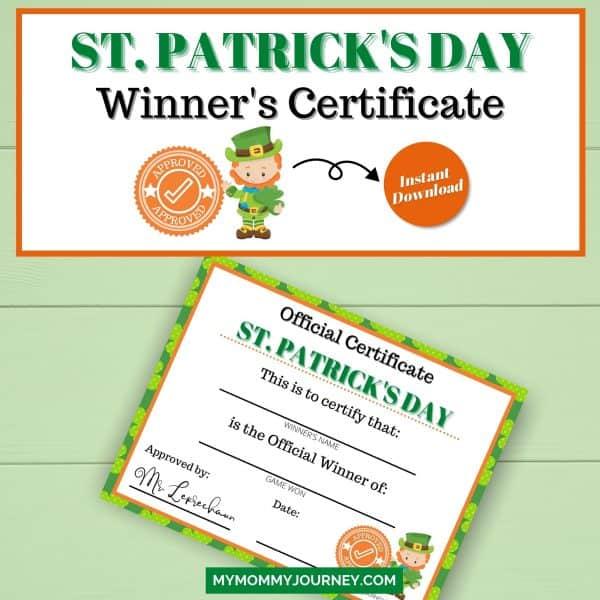 St. Patrick's Day Game Winner's Certificate