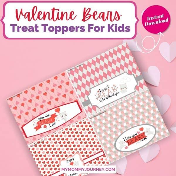 Valentine Treat Bag Toppers Printable Bears