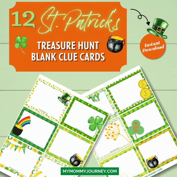 12 St. Patrick's Treasure Hunt blank clue cards