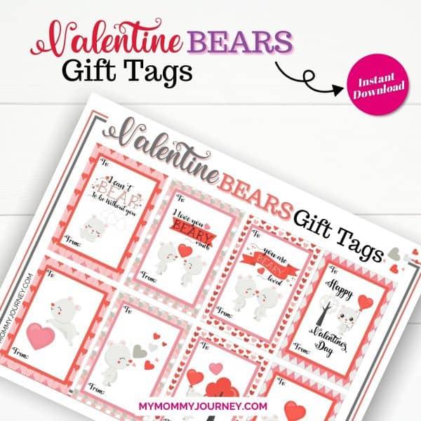 Valentine Gift Tags Printable Bears