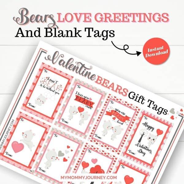 Valentine Bears Love Greetings and Blank Tags