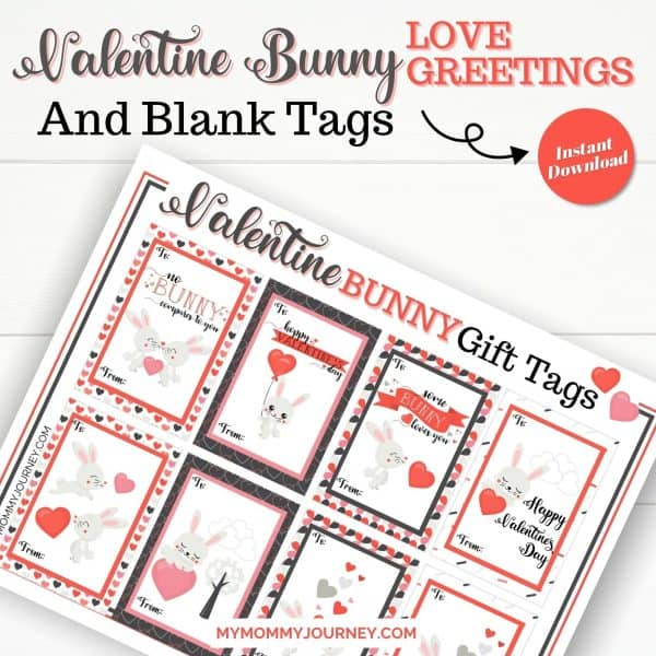 Valentine Bunny Love Greetings and Blank Tags