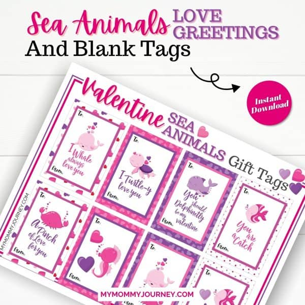Valentine Sea Animals Love Greetings and Blank Tags