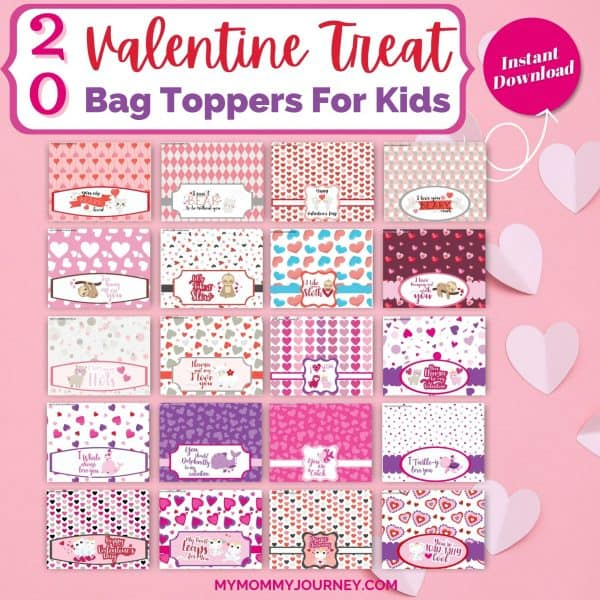 20 Valentine Treat Bag Toppers Printable Animals