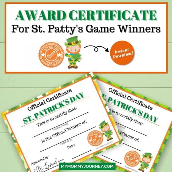 Award Certificate for St. Patty's Game Winners