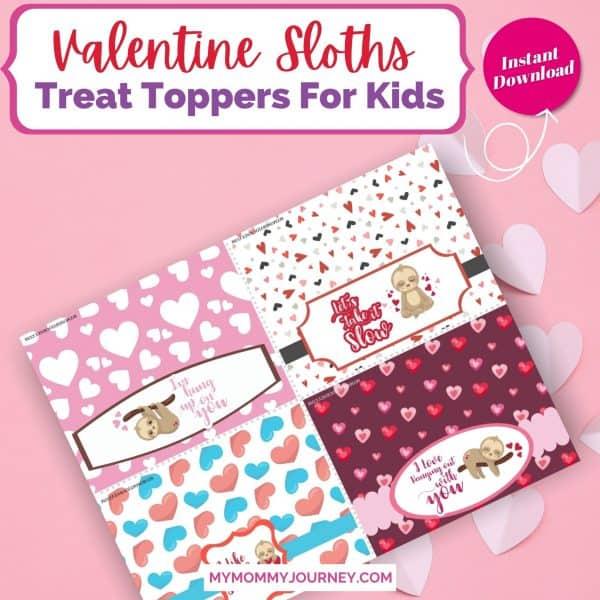 Valentine Treat Bag Toppers Printable Sloths
