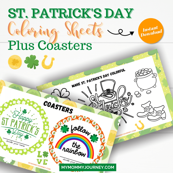 St. Patrick's Day Games to Play Coloring Sheets plus Coasters