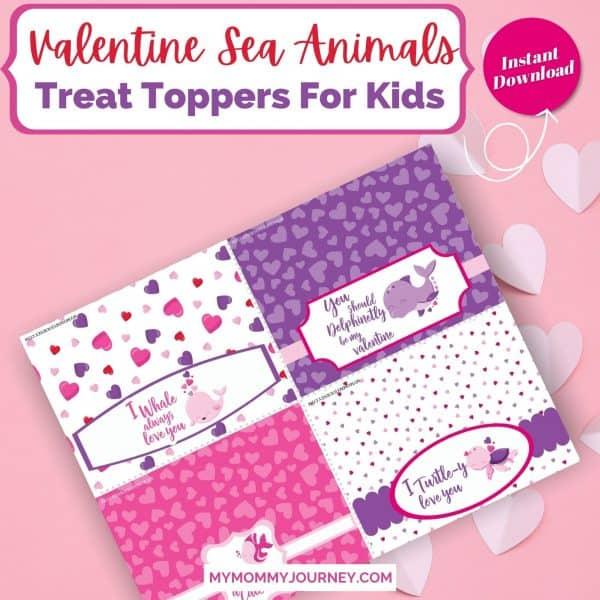 Valentine Treat Bag Toppers Printable Sea Animals