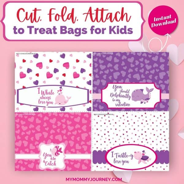 Valentine Treat Bag Toppers Printable Animals Cut Fold Attach
