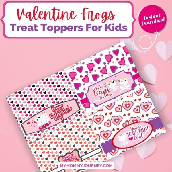 Valentine Treat Bag Toppers Printable Frogs