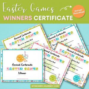 Easter Games Winners Certificate printables