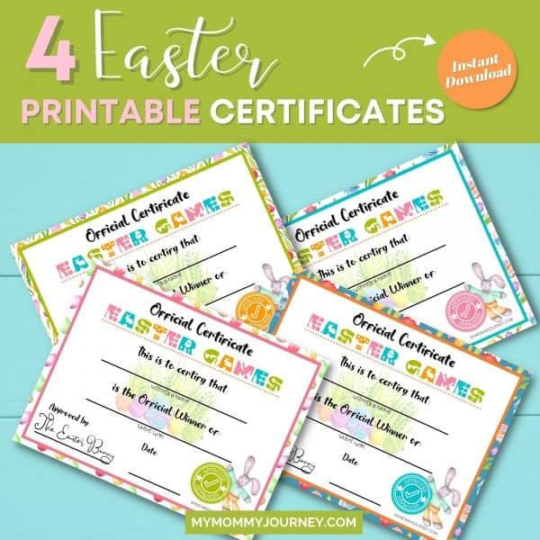 Easter Games Winners Certificate 4 printable certificates