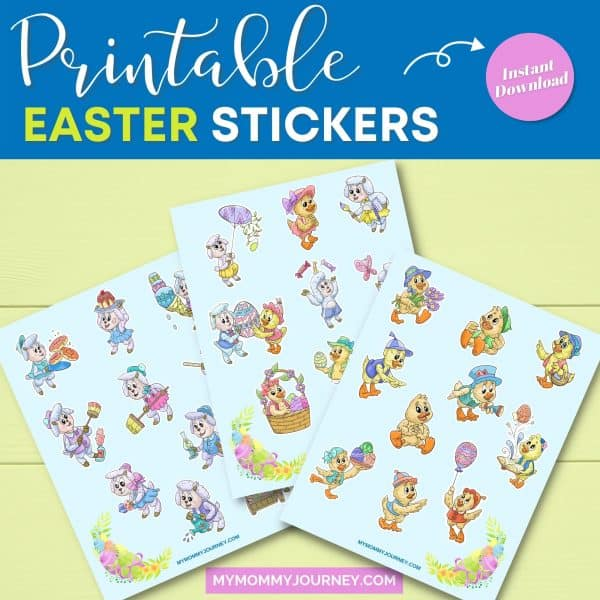 Sheep and Duck Printable Easter Stickers