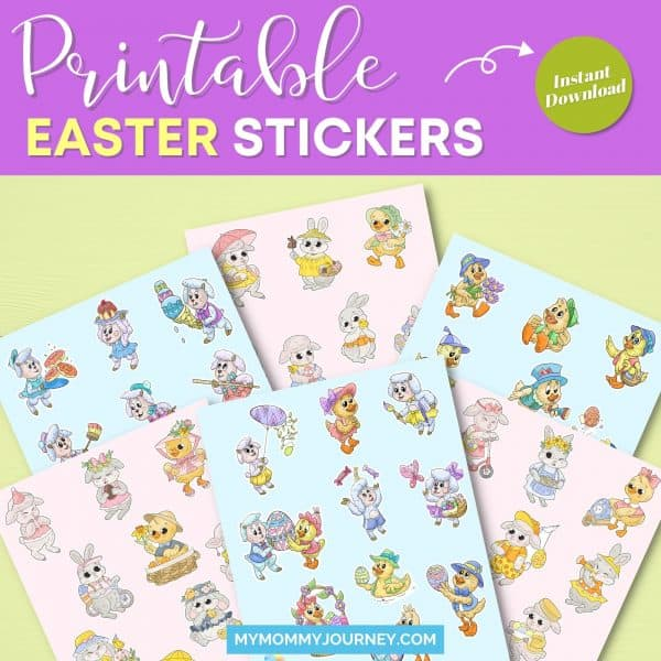 Animals Easter Stickers Bundle printable Easter stickers