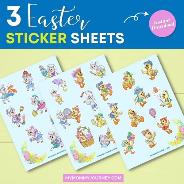 3 Sheep and Duck Easter Stickers sheets