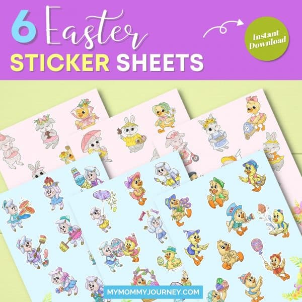 6 Easter sticker sheets