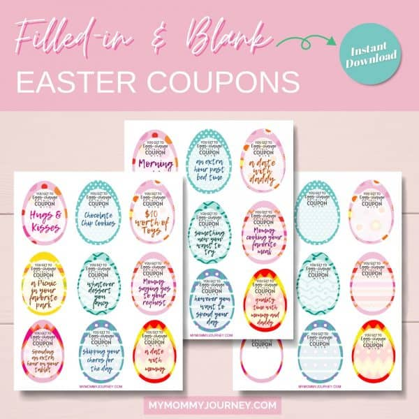 Filled-in and blank Easter coupons