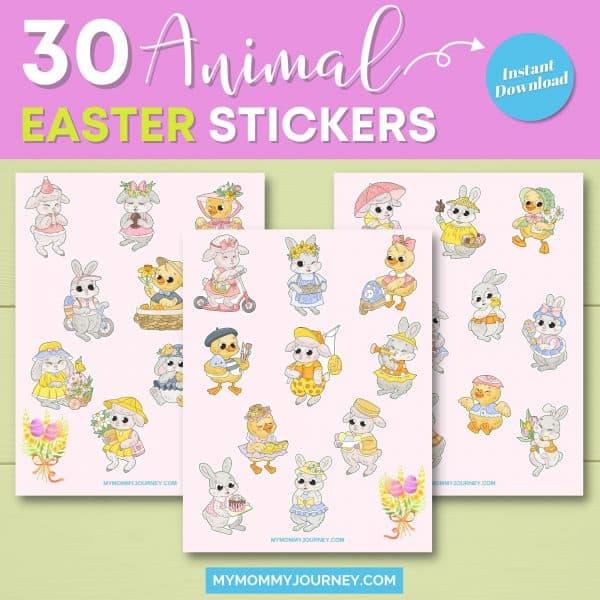 30 animal Easter stickers