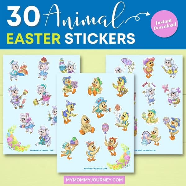 30 Sheep and Duck Easter Stickers