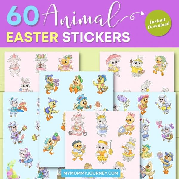 60 Animal Easter Stickers