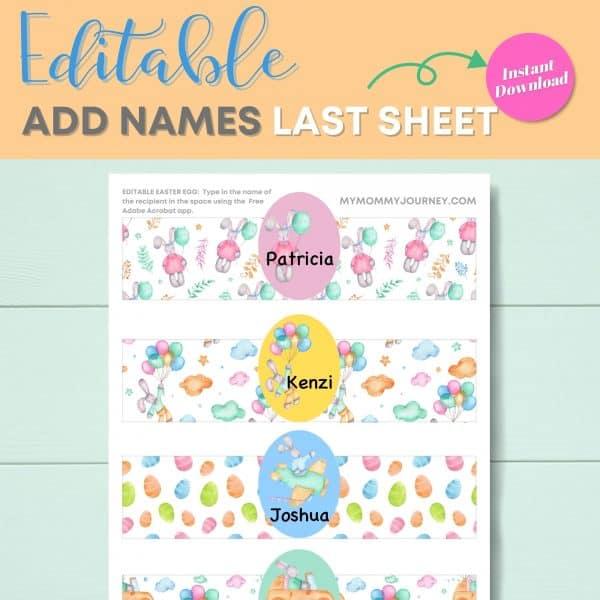 Editable add names last sheet