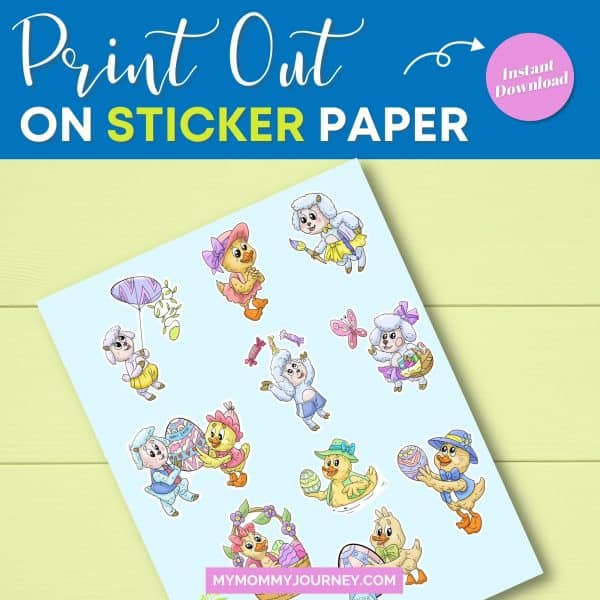 Sheep and Duck Easter Stickers print out on sticker paper