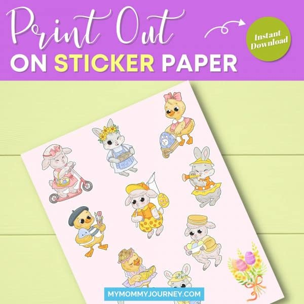 Animals Easter Stickers Bundle print out on sticker paper